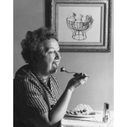Posterazzi SAL2554793 Side Profile of a Senior Woman Eating Food Poster Print - 18 x 24 in.