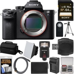 Sony Alpha A7S II 4K Wi-Fi Digital Camera Body with 64GB Card + Case + Flash + Soft Box + Battery & Charger + Tripod + Kit
