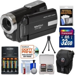 Vivitar DVR-508 HD Digital Video Camera Camcorder (Black) with 32GB Card + Batteries & Charger + Case + Tripod + Kit
