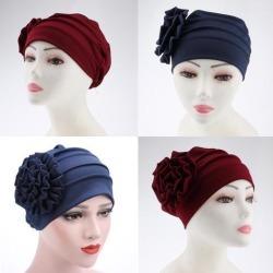 2Womens Flower Stretch Turban Hat Hijab Cap Head Wrap Hair Loss Chemo Beanie
