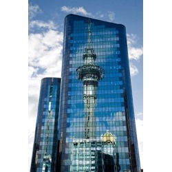 Reflection of Skytower in Office Building, Auckland, North Island, New Zealand Print by David Wall