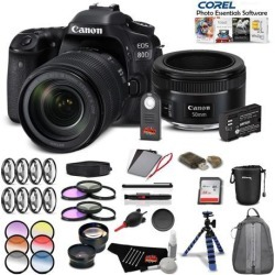 Canon EOS 80D DSLR Camera with 18-135mm Lensand 50mm Lens Portrait Photography Combo International Model