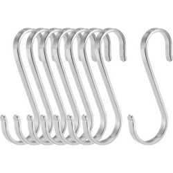 Stainless Steel S Hooks 3.15' S Shaped Hook Hangers for Kitchen Bathroom Bedroom Storage Room Office Outdoor Multiple Uses 8pcs