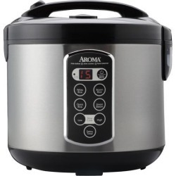 AROMA ARC-2000ASB Stainless Steel Professional 20-Cup (Cooked) Digital Cool-Touch Rice Cooker, Food Steamer and Slow Cooker