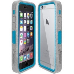 Amzer Grey on Blue Embedded Tempered Glass Rugged Case With Holster for Silver/Gold Apple iPhone 6 Plus / 6S Plus