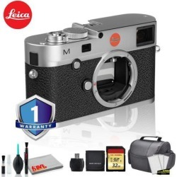 Leica M (Typ 240) Digital Rangefinder Camera (Silver) Bundle with 1 Year Extended Warranty + 32 GB Memory card + LCD Screen Protectors + MORE
