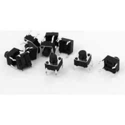 Unique Bargains 10pcs Momentary Tactile Tact Push Button Switch 6X6X6mm DIP Through-Hole 4 Pin