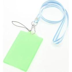 Unique Bargains Lobster Clasp Striped Nylon Neck Strap Vertical Green Plastic Card Holder