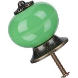 Ceramic Knobs Drawer Knob Round Pull Handle Home Door Replacement Cupboard Wardrobe Dresser Decoration Green