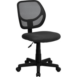 Mid-Back Gray Mesh Swivel Task Chair with Curved Square Back