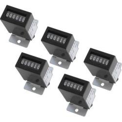 5Pcs Black Plastic Shell DC12V YB-06 6Digits Lockable Electromagnetic Counter