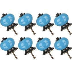 8pcs Ceramic Knobs Drawer Knob Round Pull Handle Home Door Replacement Cupboard Wardrobe Dresser Decoration Blue