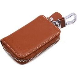 Universal Flower Printing Faux Leather Zipper Closure Car Key Holder Pouch Brown