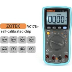 ZOTEK VC17B+ 6000 Counts True-RMS Digital Multimeter Auto Range AC/DC Voltage Current Meter Ohm Diode Voltmeter with Blacklight