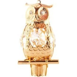 New Matashi CT0366 24K Gold Plated Highly Polished Owl Ornament Made with Genuine Matashi Crystals