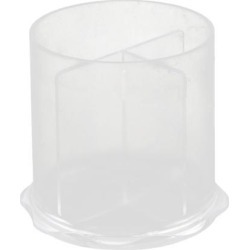 Home Office Plastic Round Shaped 3 Compartments Pencil Storage Pen Holder Clear