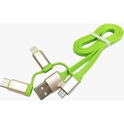 3in1 USB Cable, 3FT Durable Flat Multi Charge Cable Micro/Lightning/Type C Universal for iPhone 7 6s 6 Plus 5 5s se, iPad Air, New Macbook, iPod 5,