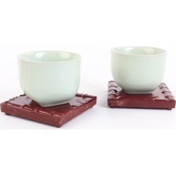 Melamine Cup Coaster Tableware Placemat Office Tea Set Accessories Red