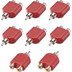RCA Male to 2 RCA Female Connector Splitter Adapter Coupler Red 8Pcs for Stereo Audio Video AV TV Cable Convert