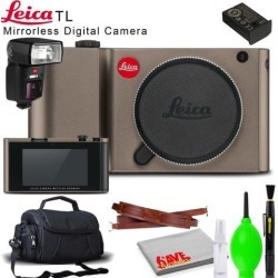 Leica TL Mirrorless Digital Camera (Titanium) with Carrying Case, Leica SF64 Flash and Cleaning Kit