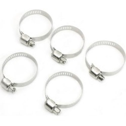 Unique Bargains 5 Pieces Stainless Steel 18-32mm Hoop Ring Adjustable Pipe Hose Clamps