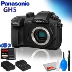 Panasonic Lumix DC-GH5 Mirrorless Micro Four Thirds Digital Camera (Body Only) w/ Memory Card Kit and Cleaning Kit