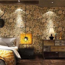 Waterproof Retro Wallpaper Growth Ring for Home Wall Improvement Coffee