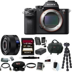 Sony a7r: Sony Alpha a7RII Mirrorless Digital Camera (Body Only) with 35mm f/2.8 Lens and 64GB SDXC Accessory Bundle