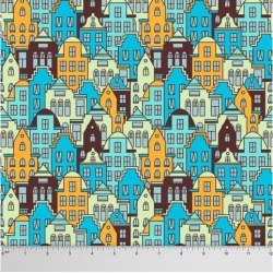Soimoi Architectural Printed Dressmaking 60 GSM Cotton Fabric For Sewing By The Meter 58 Inches Wide - Turquoise