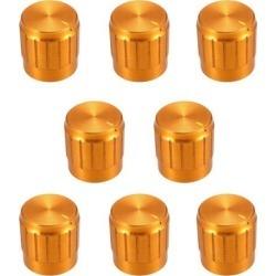 8Pcs 17x 17mm Aluminium Alloy Potentiometer Volume Control Rotary Knob Knurled Shaft Hole Gold Tone