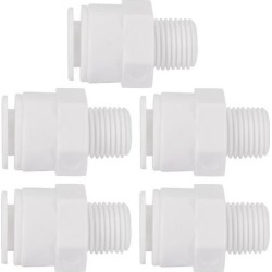 5pcs 1/4 Inch BSP Male To 3/8 Inch OD Straight Quick Connect Water Purifier Tube Fitting Push in To Connector for RO Reverse Osmosis System