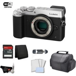 Panasonic Lumix Mirrorless Micro Four Thirds Digital Camera (Body Only, Silver) Bundle with 32GB Memory Card + Carrying Case + More