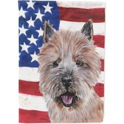 Norwich Terrier with American Flag USA Flag Garden Size SC9638GF