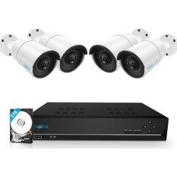 Reolink 8CH 5MP PoE Home Security Camera System, 4 x Wired 5MP Outdoor PoE IP Cameras, 5MP 8 Channel NVR Security System w/ 2TB HDD for 7/24 Recording