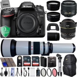 Nikon D7200 24.2MP 1080P DSLR Camera w/ Wi-Fi & GPS Ready + 5 Lens - 6.5 to 2600mm - 64GB - 30PC Kit - Nikon 18-55VR - Opteka 6.5mm - 650-2600mm -