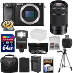 Sony Alpha A6000 Wi-Fi Digital Camera Body (Black) with 55-210mm Lens + 64GB Card + Flash + Case + Tripod + Battery & Charger + Kit