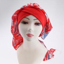 Women Elastic Head Scarf Turbans Night Sleep Hat Chemo Hair Loss Wrap Cap Red