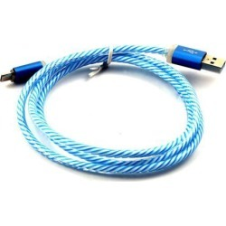 Colorful Shining Connector USB 2.0 A Male to Micro B Cable Charger Data Blue