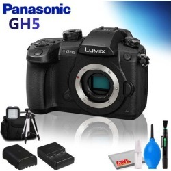 Panasonic Lumix DC-GH5 Mirrorless Micro Four Thirds Digital Camera (Body Only) w/ Backpack, Tripod, LED Light and Cleaning Kit