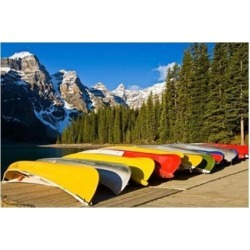Posterazzi PDDCN01LDI0020 Moraine Lake & Rental Canoes Stacked Banff National Park Alberta Canada Poster Print by Larry Ditto