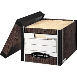 Bankers Box 0072506 R-Kive Max Storage Box, Letter/Legal, Locking Lid, Woodgrain, 4/Carton