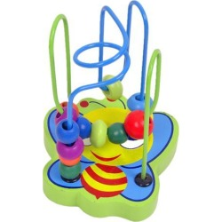 Animal Bee Circles Bead Wire Maze Roller Coaster Wooden Montessori Educational Toys for Baby Kids
