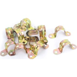 20mm Arch High Two Holes U Type Pipe Clamp Clips Bronze Tone 20 Pcs