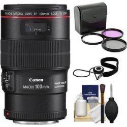 Canon EF 100mm f/2.8L Macro IS USM Lens + UV Filter + Kit for EOS 6D, 70D, 7D, 5DS, 5D Mark II III, Rebel T3, T3i, T5, T5i, T6i, T6s, SL1