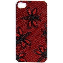 Dragonfly Print Faux Leather Coated Dark Red Plastic Back Case for iPhone 4 4S