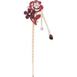 Chinese Hair Stick Hair Decor Flower Rhinestone Wedding Party Hairpin Red