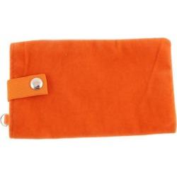 Unique Bargains Velvet Magnetic Clasp Button Cell Phone Pouch Sleeve Bag Orange 16x9.5cm