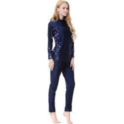 3 Pieces Modest Swimsuit Muslim Islamic Swinwear Full Coverage M Navy Blue