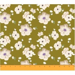 Soimoi Dressmaking 60 GSM Floral Printed Cotton Fabric For Sewing By The Meter 58 Inches Wide - Light Olive Green