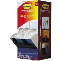 Command Clear Hooks & Strips Plastic Medium 50 Hooks w/50 Adhesive Strips per